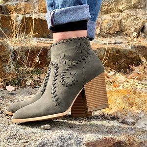 Olive Green Ankle Boot with Stitching Details